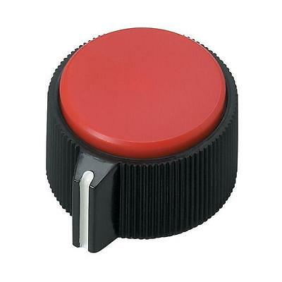 "Brand New RadioShack 1"" (25mm) Round Red Insert Control Knob (2-Pack) #274-0433"