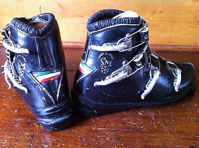 RARE Collectible SAN MARCO Italy Everest Buckle Leather 7 Ski Boots Cabin Decor