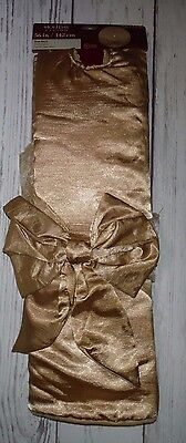 "NEW Holiday Living Gold 56"" Christmas Tree Skirt w/ bow  Ribbon"