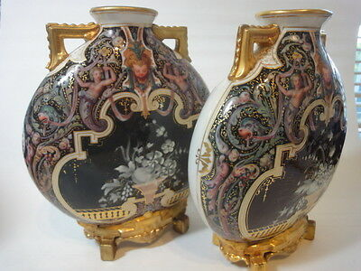 Antique Pair Of Royal Worcester Pate-Sur-Pate Moon Flask Vases, Hand Painted