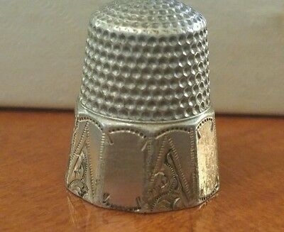 Antique Gold Band Sterling Silver Waite Thresher Co. 1890 Thimble Size 10