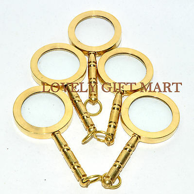 Brass Magnifier Keychain Antique Style Collectibles 5 Pcs