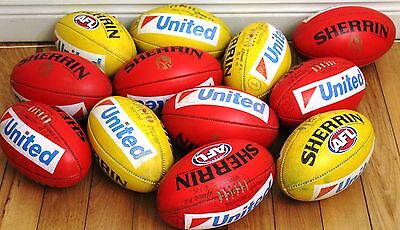 Collingwood Yellow & Red KB Sherrin Game Balls Used By Collingwood At Training