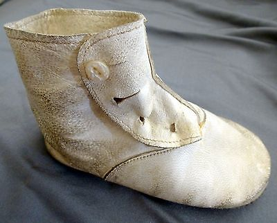 Antique Vintage White Leather Baby Child Doll Button up Shoe - Just One Shoe