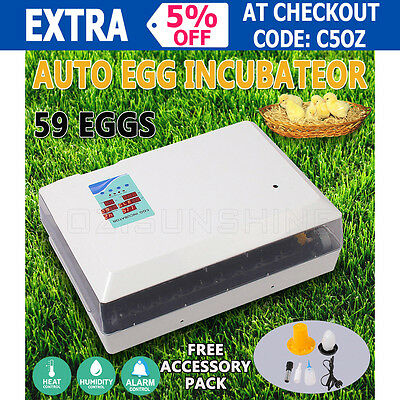 New 59 Egg Auto-Turning Digital Incubator Automatic Chicken Duck Eggs Poultry AU