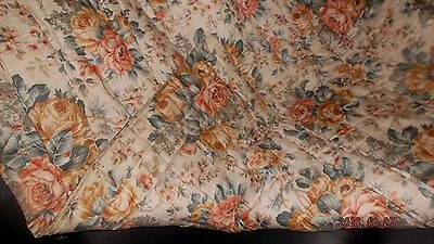 "Antique French boutis earthtone floral whole quilt~66x80"" cotton xlt condition"