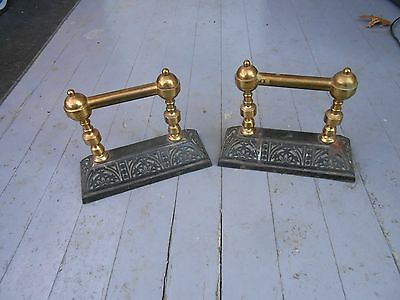 2 Antique Brass And Cast Iron Victorian Boot Scraper Door Handle Fireplace Rest