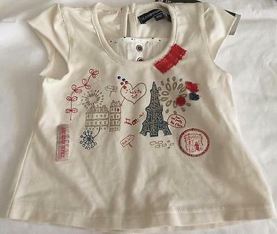 JEAN BOURGET French Boutique Baby Girls 6M (3-6M) Top w/French print  NWT