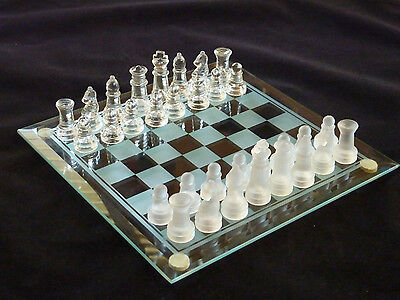 Vintage Glass Chess Set Old Board Game