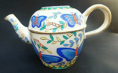 Minature Small Vintage Ceramic blue butterflies Teapot no lid