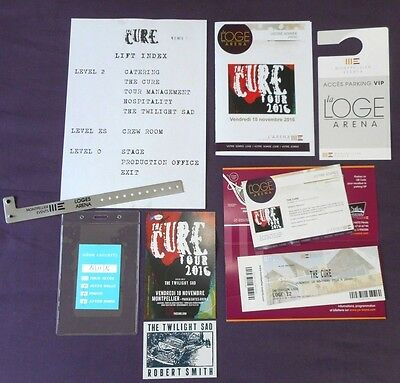 The Cure Lot Vip / Pass Backstage / Flyer Concert Tour 2016 France Rare