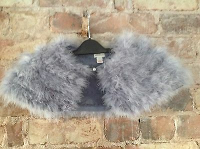 "Girls 6-10 Yrs ""monsoon"" Fluffy Faux Fur Silver Grey Cape.  Lovely"