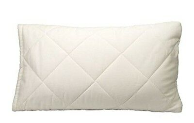 Greenbuds Organic Cotton Quilted Toddler Pillow Cover/Protector with Wool Fill