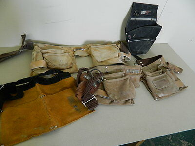 Lot of 4 Various Tool Belts - Work DIY Chippie Leather