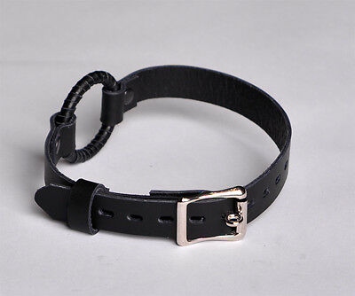 HANDCRAFTED Quality Locking Ring gag black top quality leather Ga04blk