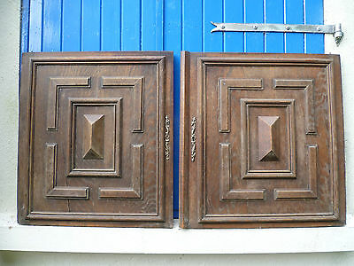 Two, Antique, French, Breton, Large, Hand Carved Wooden Wall Hangings,