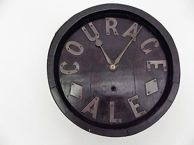 A Unusual English Fusee Barrell Clock  ( Courage  Ale )