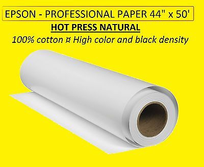 """EPSON S042325 Professional Paper 44"""" x 50' Roll - Hot Press Natural 100% cotton"""