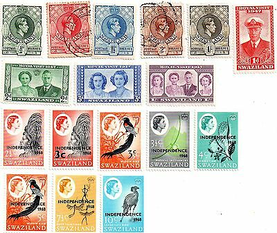commonwealth stamps, swaziland george vi to elizabeth