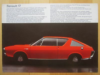 Renault 17 TS & TL Coupe 1565cc Brochure - Leaflet, July 1972 in Good Condition