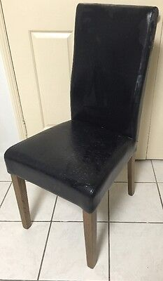 Leather dining chairs X 8 - High Back - Black - Bonded Leather