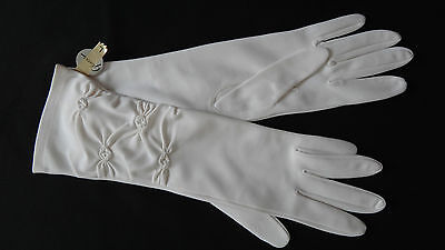 Vintage White Patterned Gloves Nylon Simplex by Glovers Brand Size L