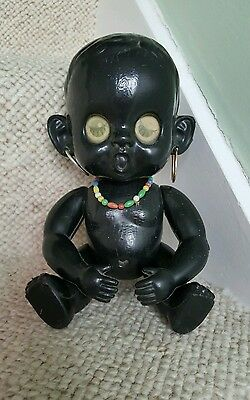 Lovely Large Vintage Black Winky Blinky Doll