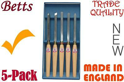 Wood Lathe Chisels 5-Pack, Made in England for trade use