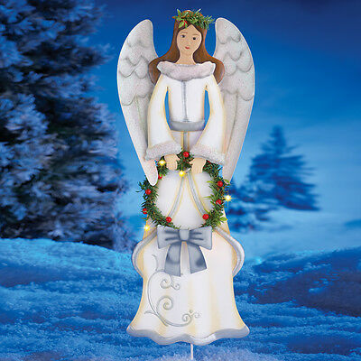 Christmas Angel with Lighted Wreath Outdoor Garden Stake