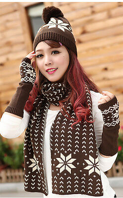 NEW Lovely Lady Girl Snow Flakes/Flower Hat Scarf Glove Set Brown Xmas Gift