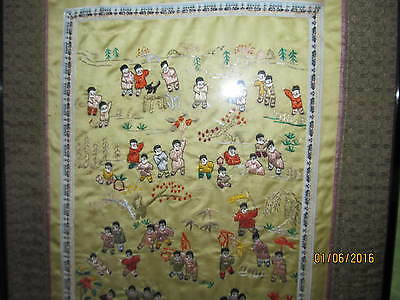 Antique Chinese Embroidery 100 Children Legend  Playing Amazing