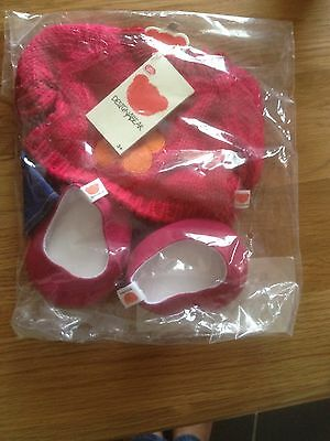 chad valley brand new designabear 2 x clothes outfit in a packet & red suitcase