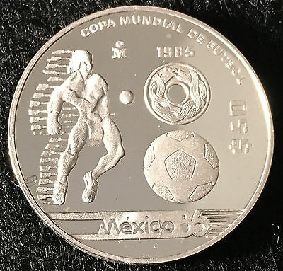 1985 Mexico World Cup Soccer Silver Proof 50 Pesos