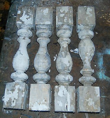 Antique Decorative Wood Porch Balusters Crusty White Paint Repurpose Legs