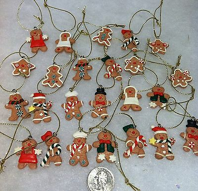 2 Dozen mini Gingerbread man Cookie Christmas tree Ornaments, Miniature Crafting