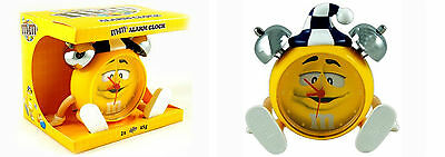 M & M YELLOW CHARACTER BATTERY OPERATED ALARM CLOCK Brand New In Box