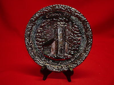 Vintage Fenton Christmas 1970 Glass Plate - The Little Brown Church In The Vale