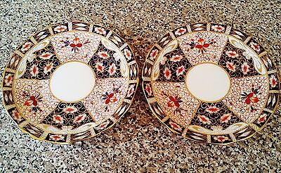 PAIR of Traditional Imari Cabinet Plates by E. Hughes & Co. in Derby 2451 Style