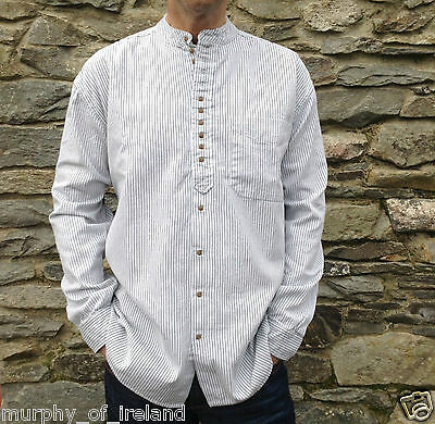 Mens/Gents Grandfather/Grandad Collarless Shirts Cotton Irish/Ireland Classic