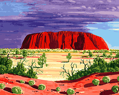 Paint By Numbers Kit Canvas 50*40cm A018 Uluru Rock Oz Art Outback AU Shipping