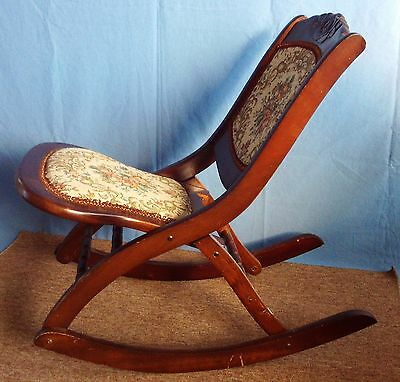 Vintage Wood Folding Rocker Rocking Chair with Tapestry Fabric Seat & Back