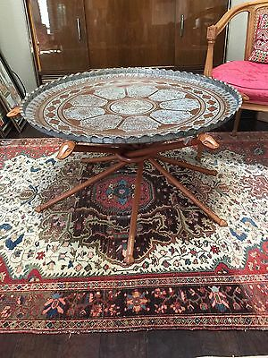 Unique Vintage Middle East Table With Collapsible Legs Extra Large Brass Charger