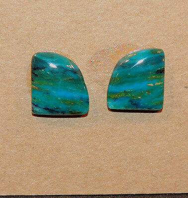 Peruvian Blue Andean Opal Pair 11.5x10mm Cabochon from Peru 3.5mm dome (11528)