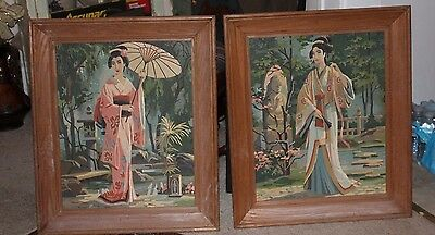 Set of 2 Framed Vintage ORIENTAL Costumes PAINT BY NUMBER Oil Geisha PBN large