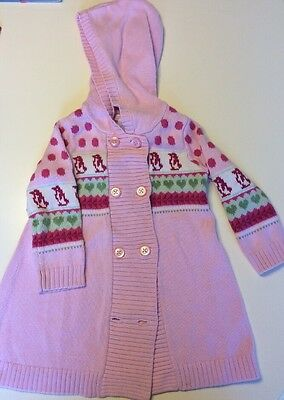 Janie and Jack Girls Pink Penguin Long Hooded Cotton Sweater Coat 12-18 Months