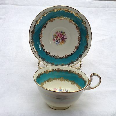 Aynsley BONE CHINA TEA CUP & SAUCER - cC461 (?) 6461 (?) blue gold floral