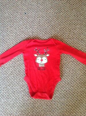 Florence & Fred baby red reindeer bodysuit age 9-12 months
