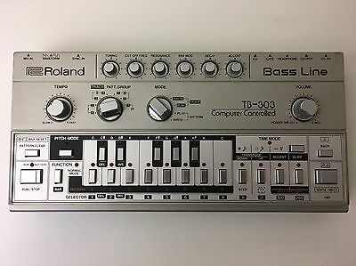 ROLAND TB-303 TB303 BASSLINE Synthesizer Synth *SERVICED* Case & Original Manual