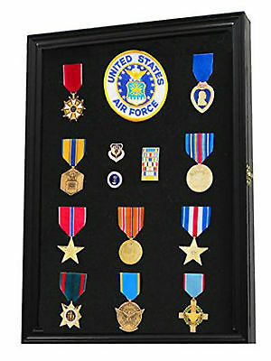 Military Medals Patches Ribbons Display Case Cabinet Wall Mounted Frame Box Gift