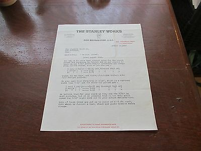 The Stanley Works Letterhead 1919
